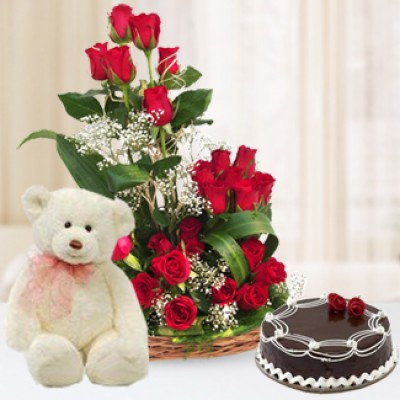 Flowers,Cake & Teddy