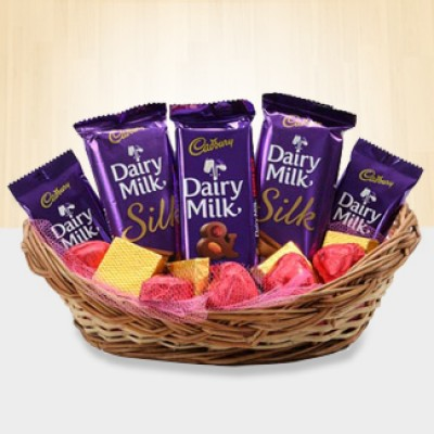 Dairy Milk Silk 5 Pcs in Basket