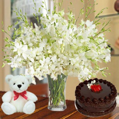 Orchids,Cake & Teddy