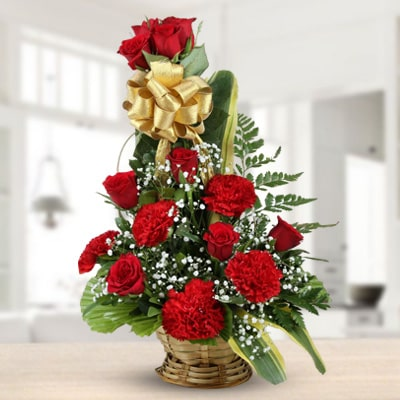 Roses & Carnations Wishes Basket