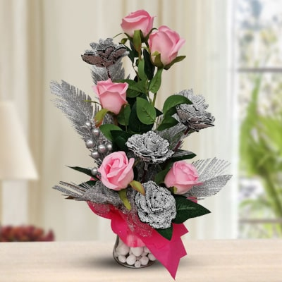 Pink Silver Glitter Roses